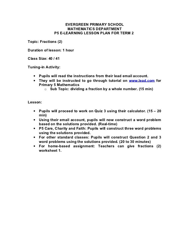 EVERGREEN PRIMARY SCHOOL                      MATHEMATICS DEPARTMENT               P5 E-LEARNING LESSON PLAN FOR TERM 2Top...