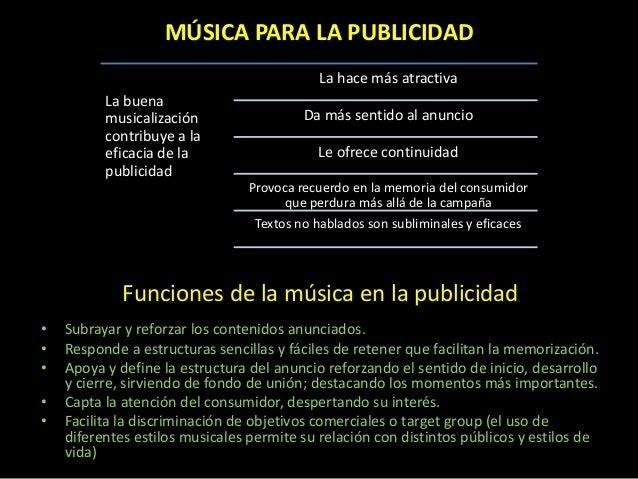 La buena musicalización contribuye a la eficacia de la publicidad La hace más atractiva Da más sentido al anuncio Le ofrec...
