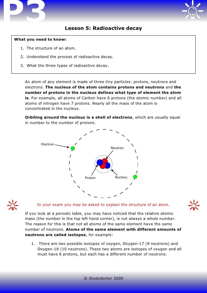 Lesson 5: Radioactive decayWhat you need to know:  1. The structure of an atom.  2. Understand the process of radioactive ...