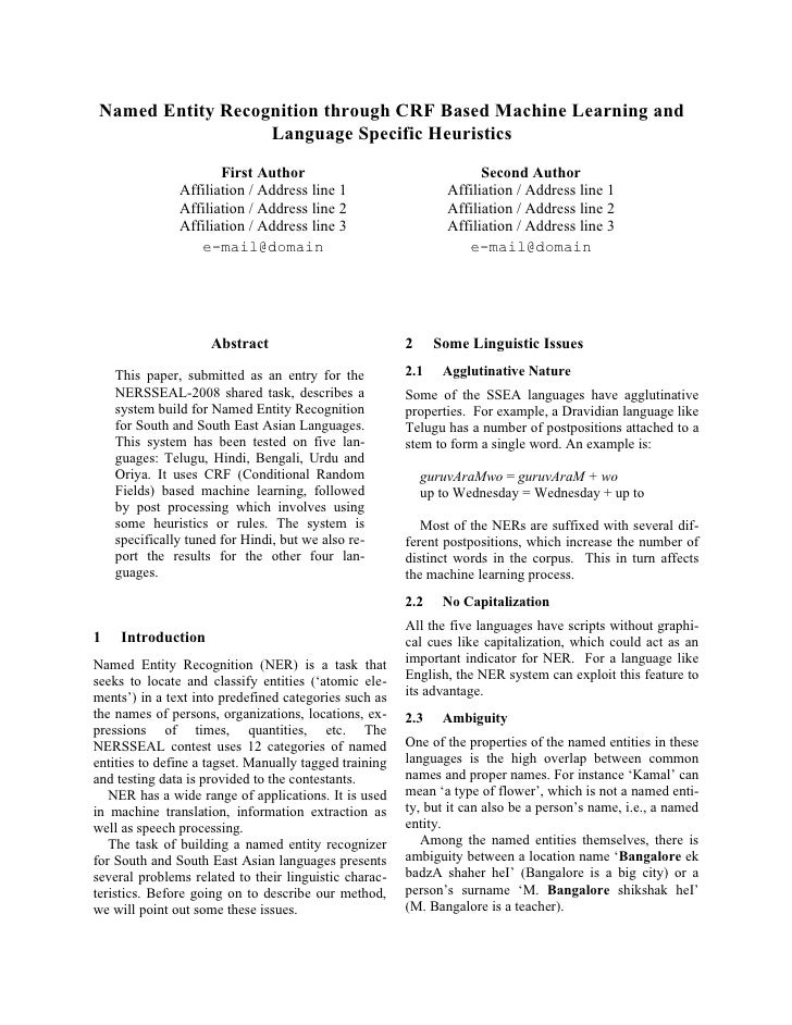 Named Entity Recognition through CRF Based Machine Learning and                    Language Specific Heuristics           ...