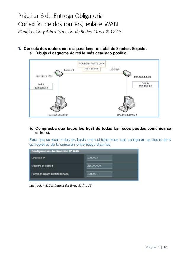 Práctica 6 de Entrega Obligatoria Conexión de dos routers, enlace WAN Planificación y Administración de Redes. Curso 2017-...