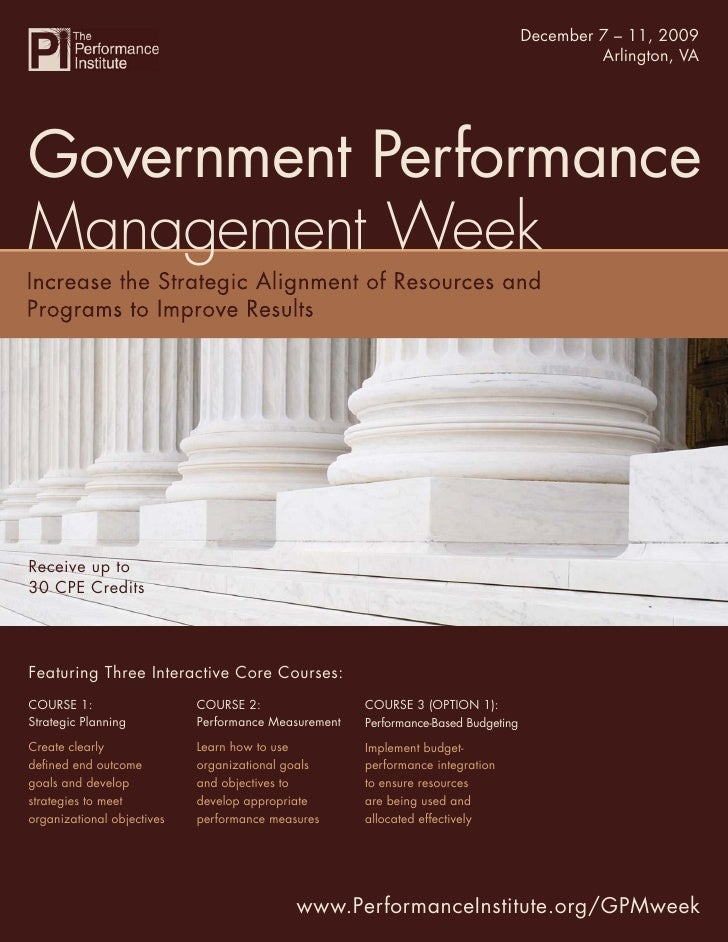 Government Performance December 7 – 11, 2009                                                                      Manageme...