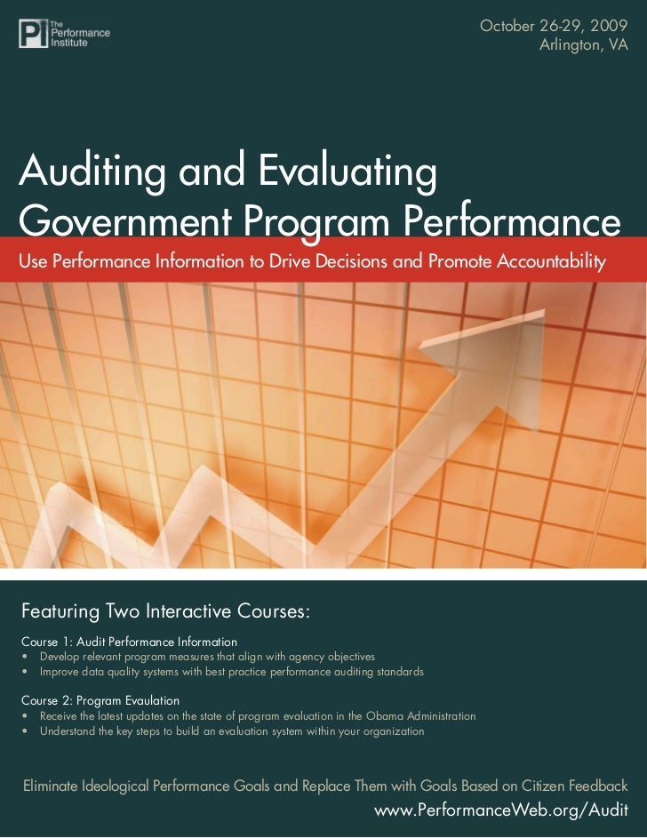 October 26-29, 2009                            Auditing and Evaluating Program Performance                                ...