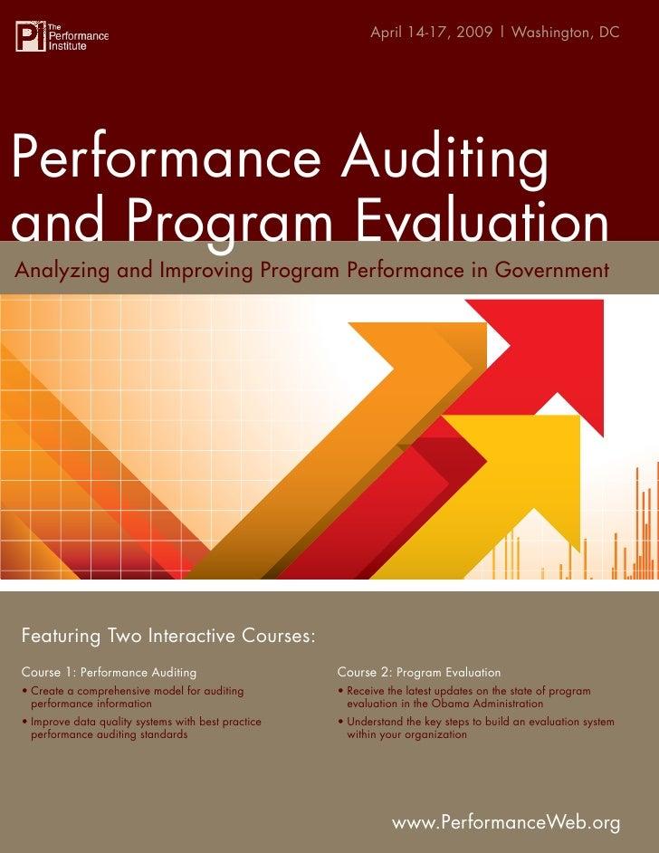 Performance Auditing and Program Evaluation Washington, DC                                                       April 14-...