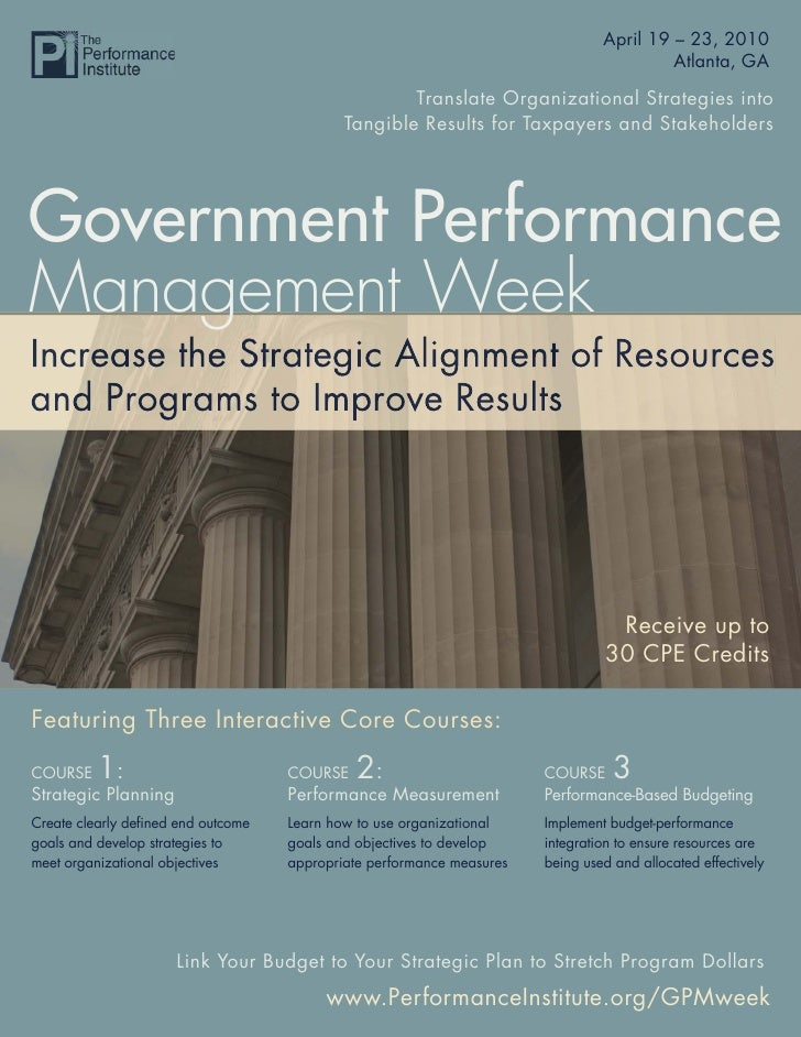 Government Performance Management Week 2010                                                                   April 19 – 2...