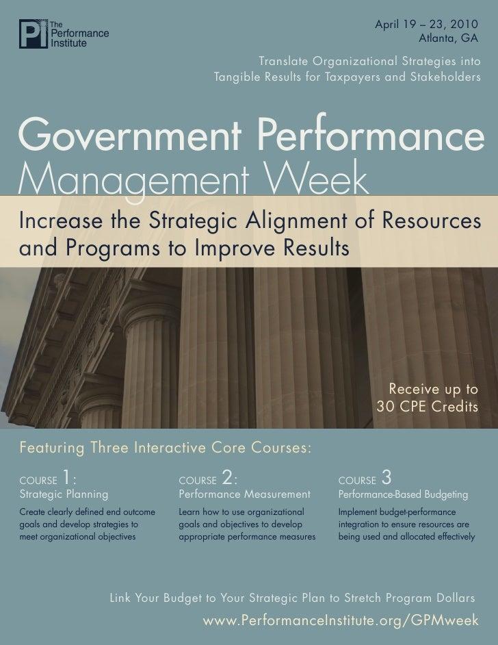 Government Performance Management Week 2010                                                                    April 19 – ...