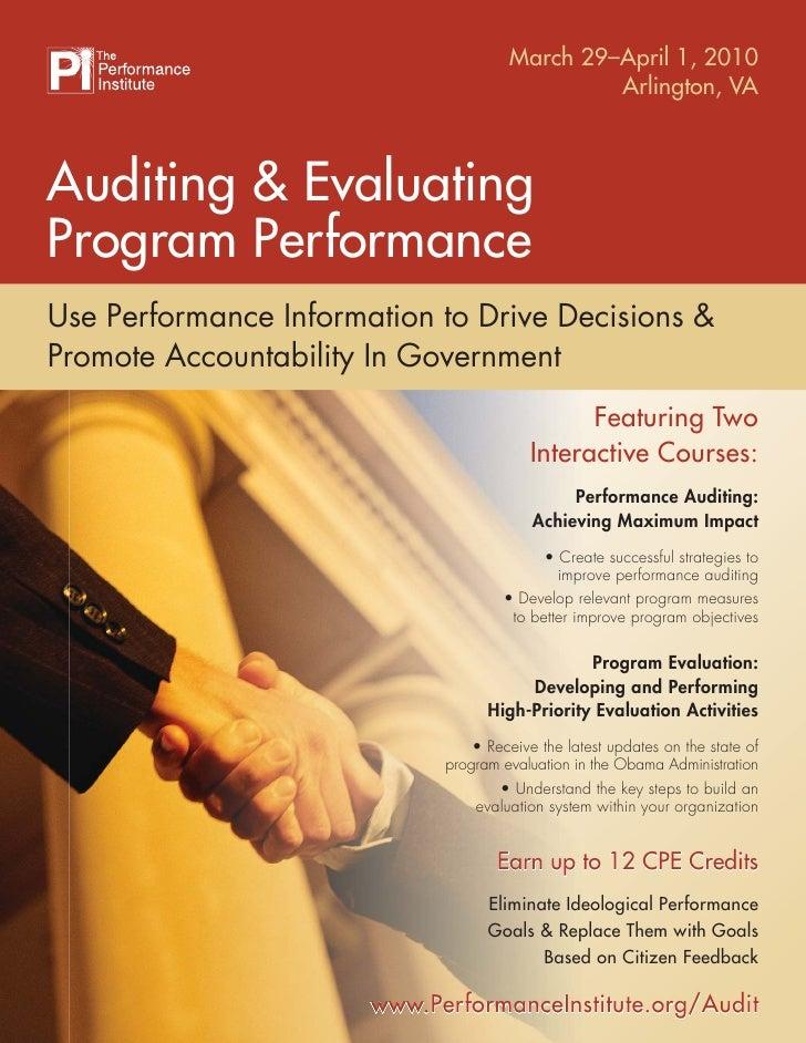 March 29–April 1, 2010                                                Arlington, VA    Auditing & Evaluating Program Perfo...