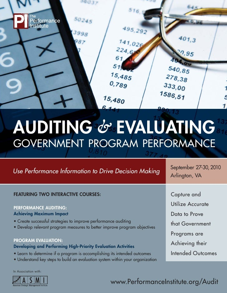 AUDITING & EVALUATING GOVERNMENT PROGRAM PERFORMANCE                                                                      ...