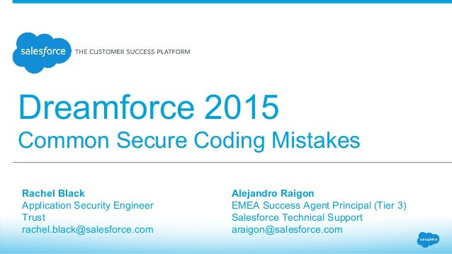 Secure Salesforce: Common Secure Coding Mistakes