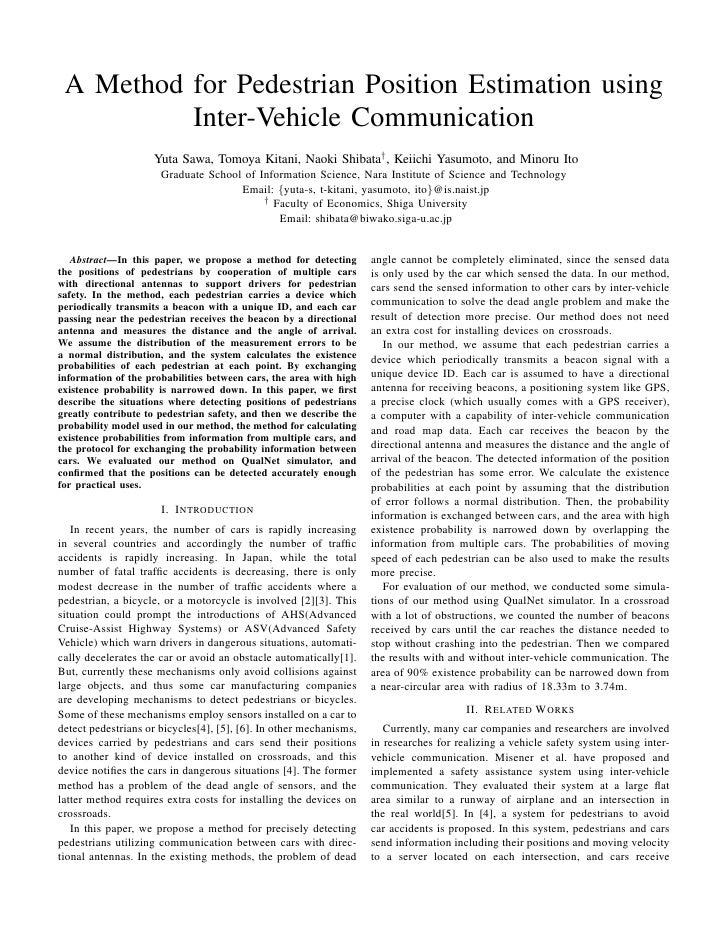 A Method for Pedestrian Position Estimation using           Inter-Vehicle Communication                     Yuta Sawa, Tom...