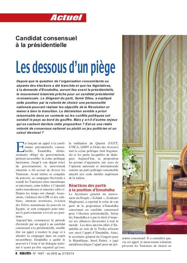 EconomieActuel 8 - RÉALITÉS - N° 1487 - du 26/6 au 2/7/2014 Candidat consensuel à la présidentielle Lesdessousd'unpiège E ...