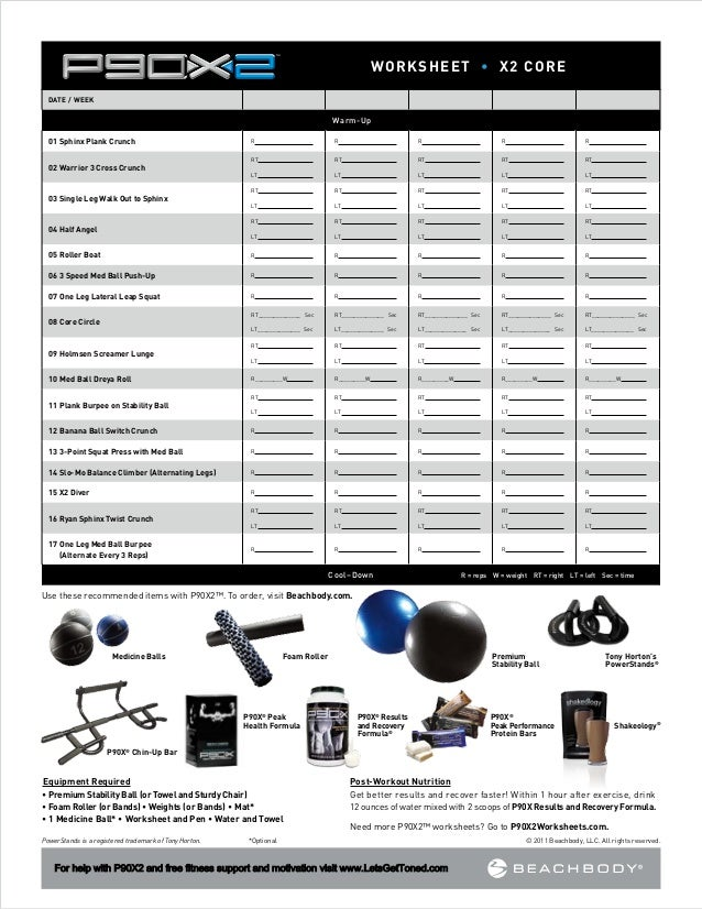 P90X2 Worksheets