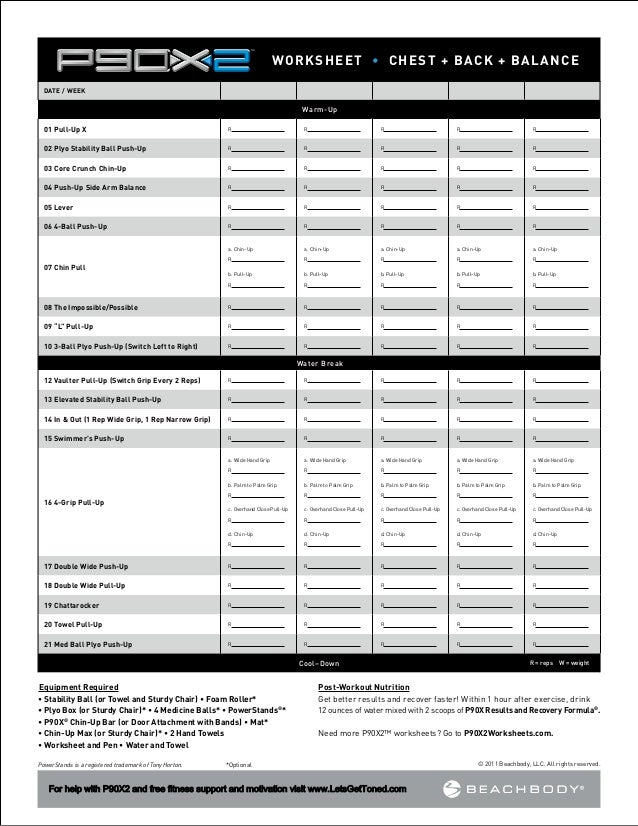 P90x Legs And Back Workout Sheet Pdf – P90x Worksheet