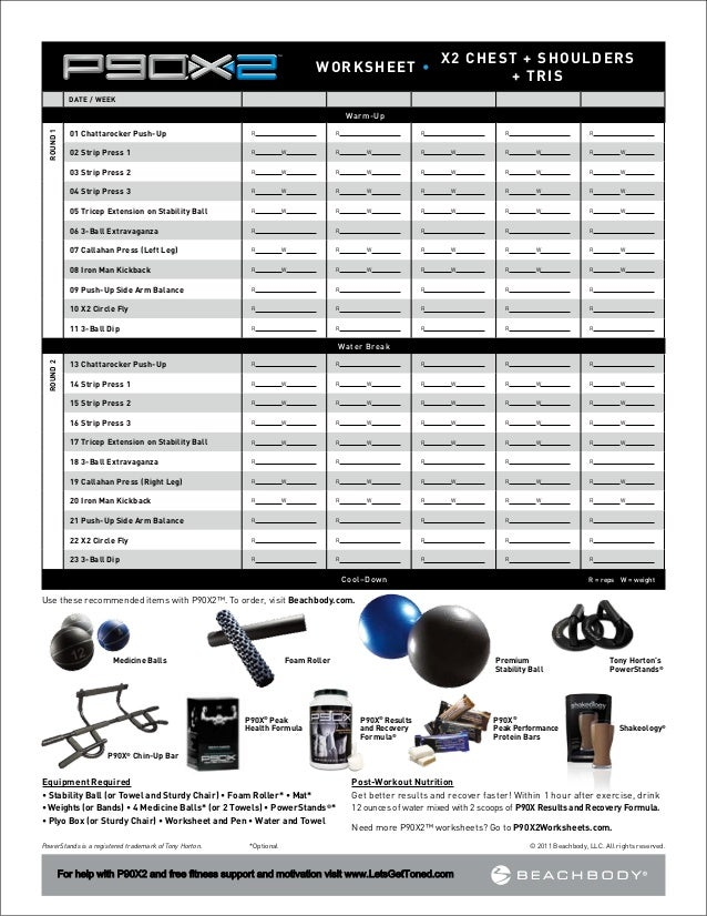 P90X2 Worksheets – Ksheet