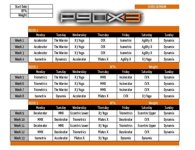 P90 X3 Calendar Lean