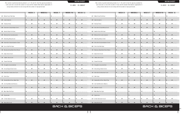 P90x Worksheet: P90x Back And Biceps Worksheet   Rringband,