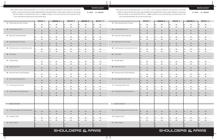 Printables P90x Worksheets p90x worksheets worksheet week 1 2 3 9 11 this routine is performed during weeks 9