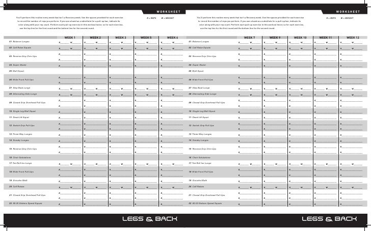 P90x worksheets – P90x Chest and Back Worksheet