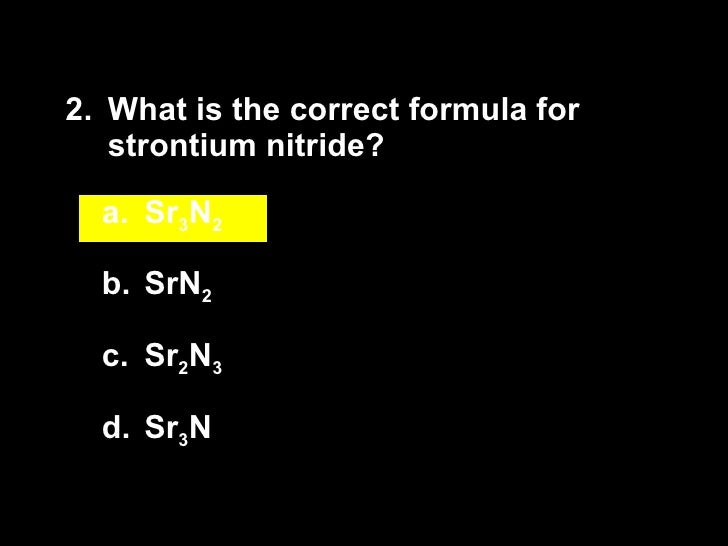 What is the formula for strontium