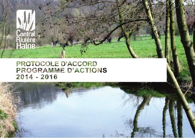 Contrat Rivière Haine Programme d'actions | Protocole d'accord | 2014-2016