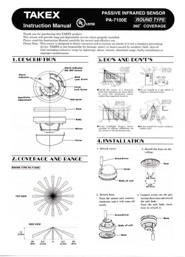 Takex PA-7100E Instruction Manual