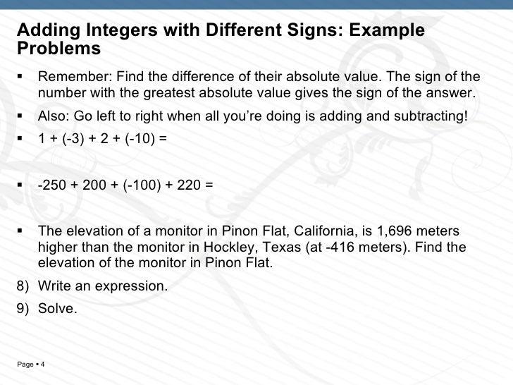 math worksheet : ch 1 sec 5 6 adding subtracting integers : Adding And Subtracting Integers Word Problems Worksheet