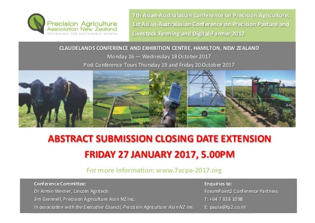 ABSTRACT SUBMISSION CLOSING DATE EXTENSION FRIDAY 27 JANUARY 2017, 5.00PM 7th Asian-Australasian Conference on Precision A...