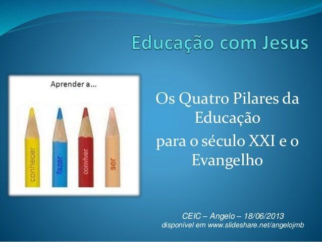 Os Quatro Pilares da Educação para o século XXI e o Evangelho CEIC – Angelo – 18/06/2013 disponível em www.slideshare.net/...