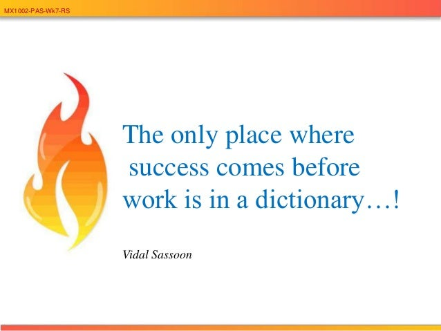 MX1002-PAS-Wk7-RSThe only place wheresuccess comes beforework is in a dictionary…!Vidal Sassoon