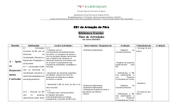 EB1 de Armação de Pêra Biblioteca Escolar Plano de Actividades Ano lectivo 2010/2011 Domínio Subdomínio Acções/Actividades...