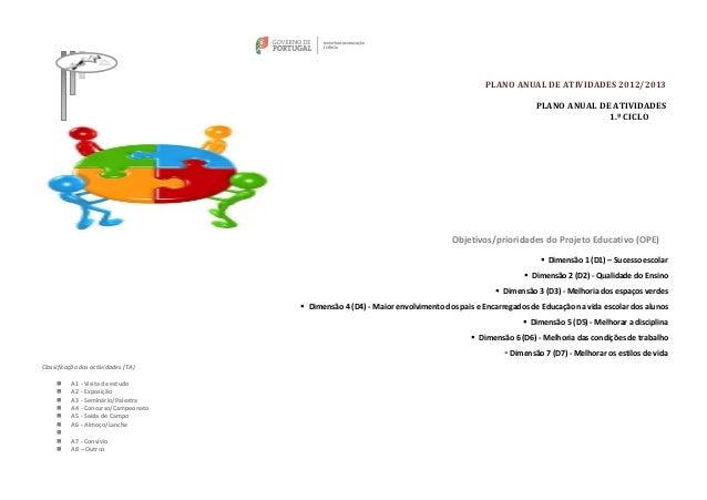 PLANO ANUAL DE ATIVIDADES 2012/2013                                                                                       ...