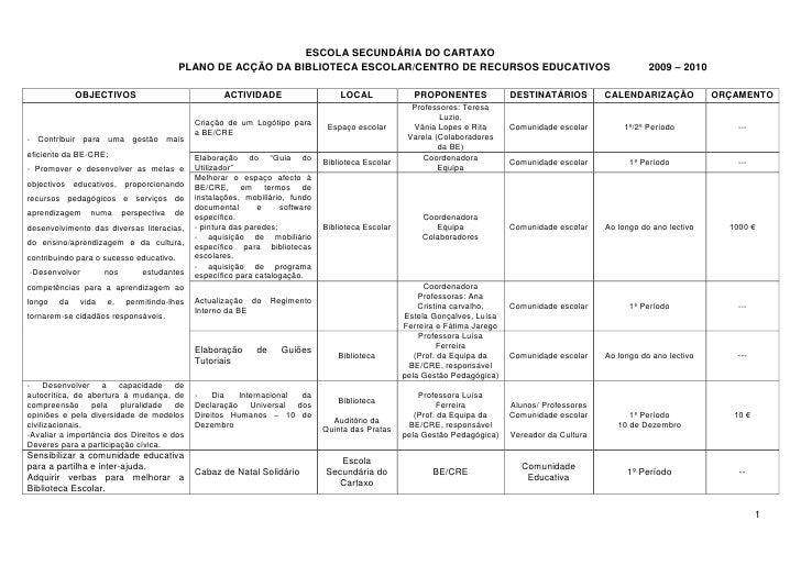 ESCOLA SECUNDÁRIA DO CARTAXO                                           PLANO DE ACÇÃO DA BIBLIOTECA ESCOLAR/CENTRO DE RECU...