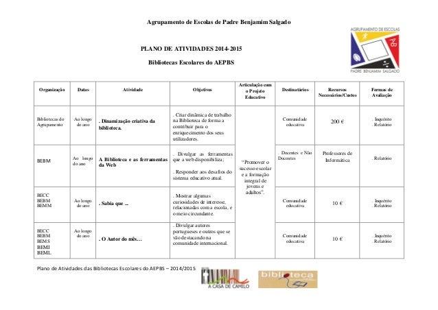 Agrupamento de Escolas de Padre Benjamim Salgado Plano de Atividades das Bibliotecas Escolares do AEPBS – 2014/2015 PLANO ...