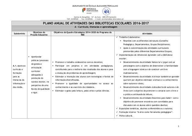 1 PLANO ANUAL DE ATIVIDADES DAS BIBLIOTECAS ESCOLARES 2016-2017 A – Currículo, literacias e aprendizagem Subdomínio Objeti...