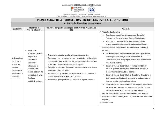 1 PLANO ANUAL DE ATIVIDADES DAS BIBLIOTECAS ESCOLARES 2017-2018 A – Currículo, literacias e aprendizagem Subdomínio Objeti...