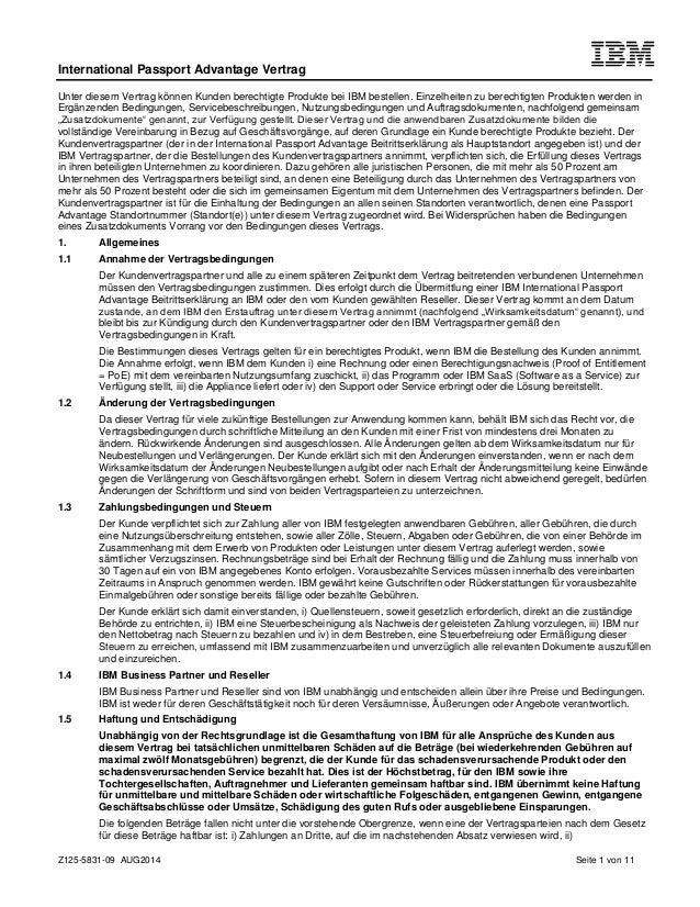 Passport Advantage Agreement in German