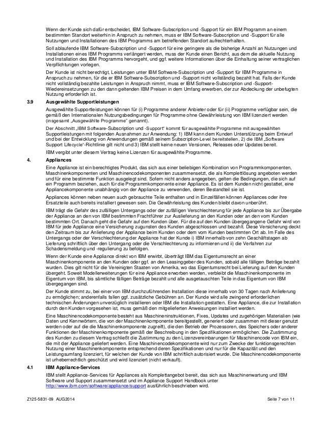 Passport Advantage Agreement in German
