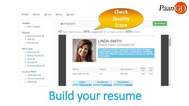 build your resume check quality score