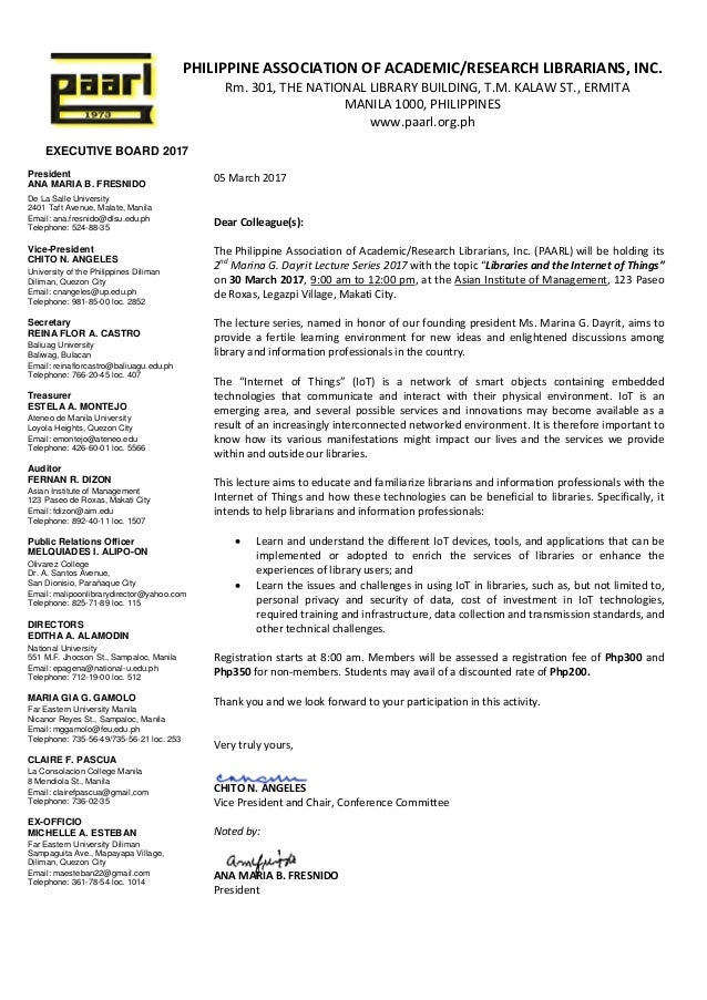 EXECUTIVE BOARD 2017 President ANA MARIA B. FRESNIDO De La Salle University 2401 Taft Avenue, Malate, Manila Email: ana.fr...