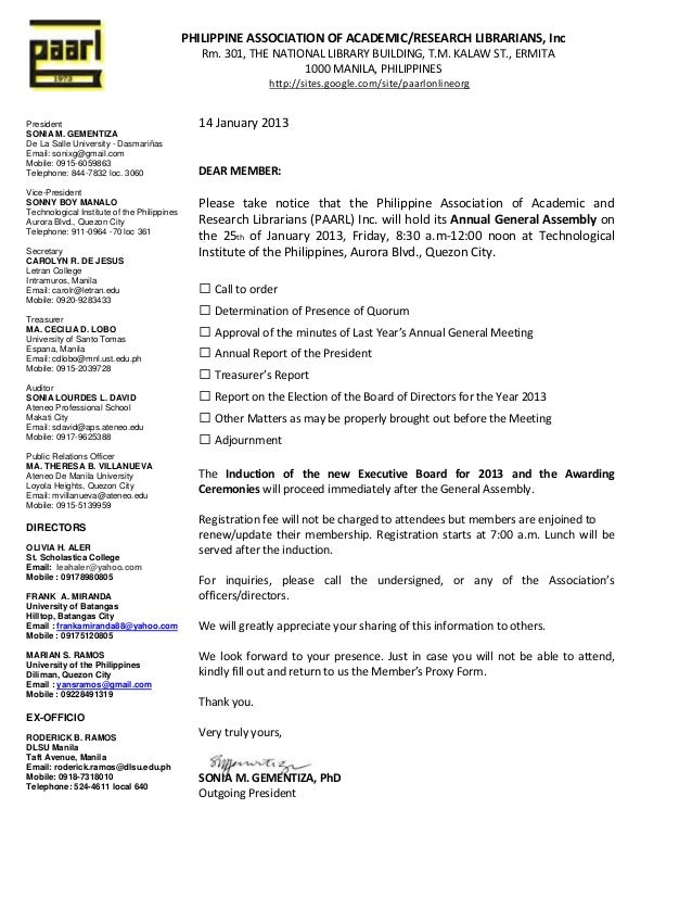 math worksheet : paarl invitation letter to attend the 2013 general assemblys ga : Invitation Letter To Board Meeting