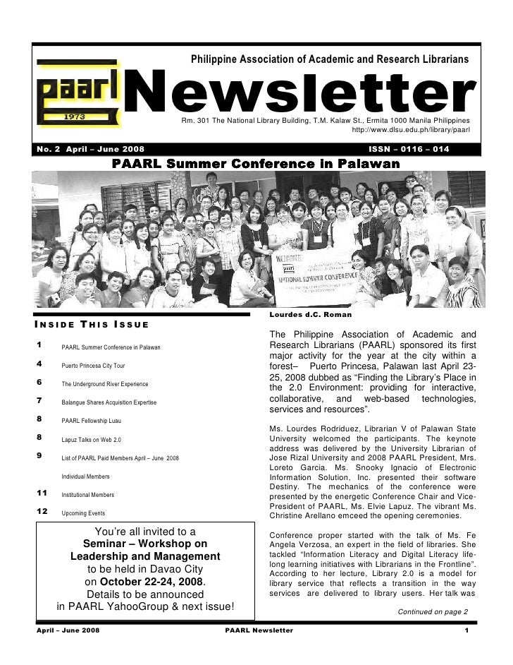 Philippine Association of Academic and Research Librarians                                  Newsletter             Rm. 301...