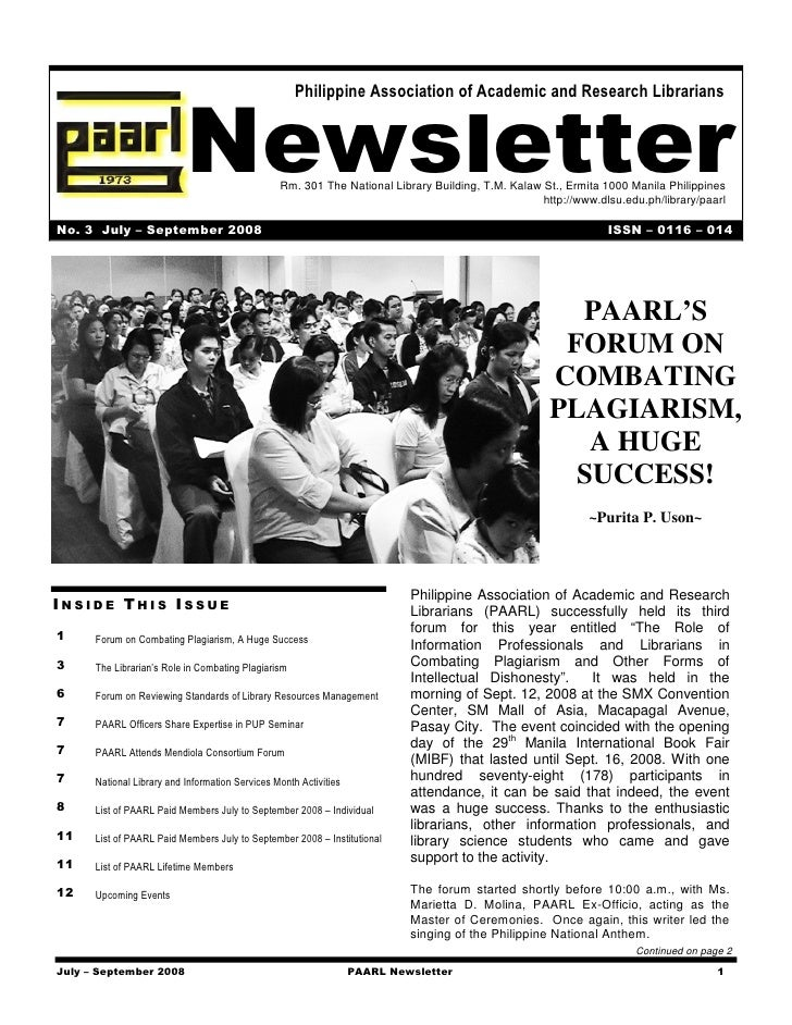 Philippine Association of Academic and Research Librarians                               Newsletter            Rm. 301 The...