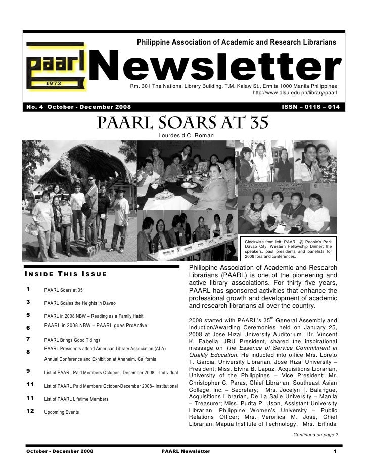 Newsletter                                                    Philippine Association of Academic and Research Librarians  ...