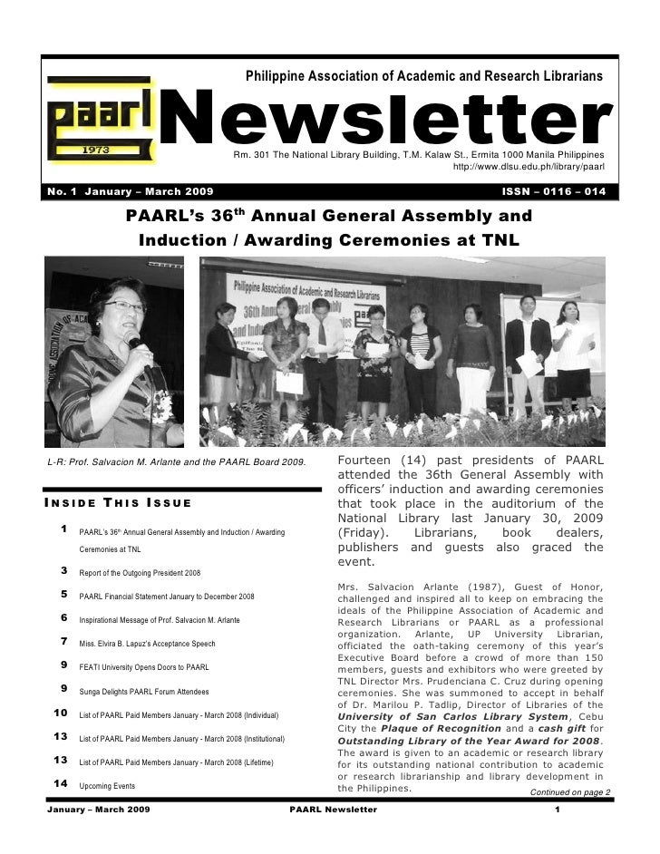 Newsletter                                                              Philippine Association of Academic and Research Li...