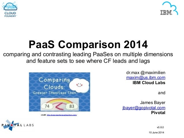 PaaS Comparison 2014 comparing and contrasting leading PaaSes on multiple dimensions and feature sets to see where CF lead...