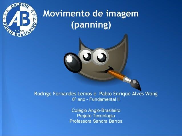 Movimento de imagem (panning)  Rodrigo Fernandes Lemos e Pablo Enrique Alves Wong 8º ano - Fundamental II Colégio Anglo-Br...