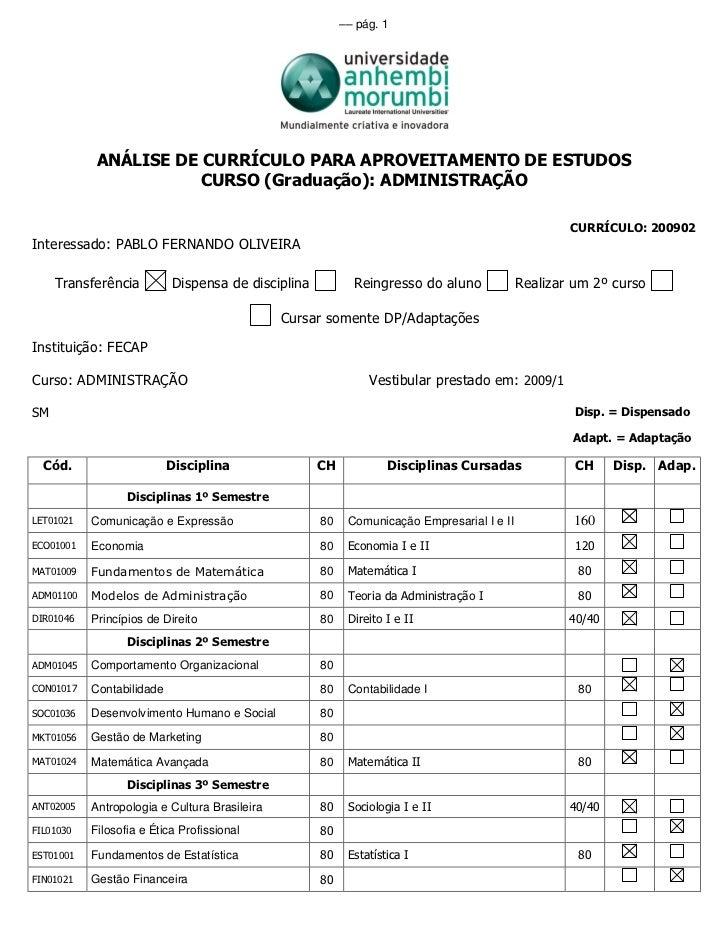 –– pág. 1            ANÁLISE DE CURRÍCULO PARA APROVEITAMENTO DE ESTUDOS                      CURSO (Graduação): ADMINISTR...
