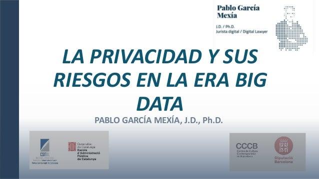 LA PRIVACIDAD Y SUS RIESGOS EN LA ERA BIG DATA 1 PABLO GARCÍA MEXÍA, J.D., Ph.D.