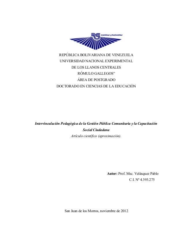 REPÚBLICA BOLIVARIANA DE VENEZUELA                UNIVERSIDAD NACIONAL EXPERIMENTAL                       DE LOS LLANOS CE...