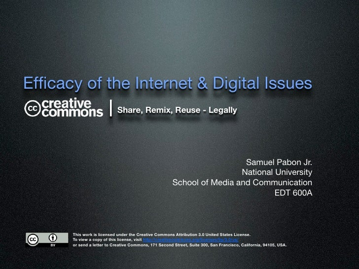 Efficacy of the Internet & Digital Issues            | Share, Remix, Reuse - Legally                                       ...